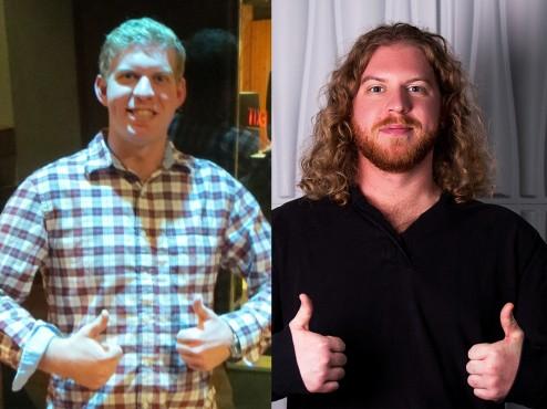 Jon heute und vor etwa drei Jahren mit langer Mähne...