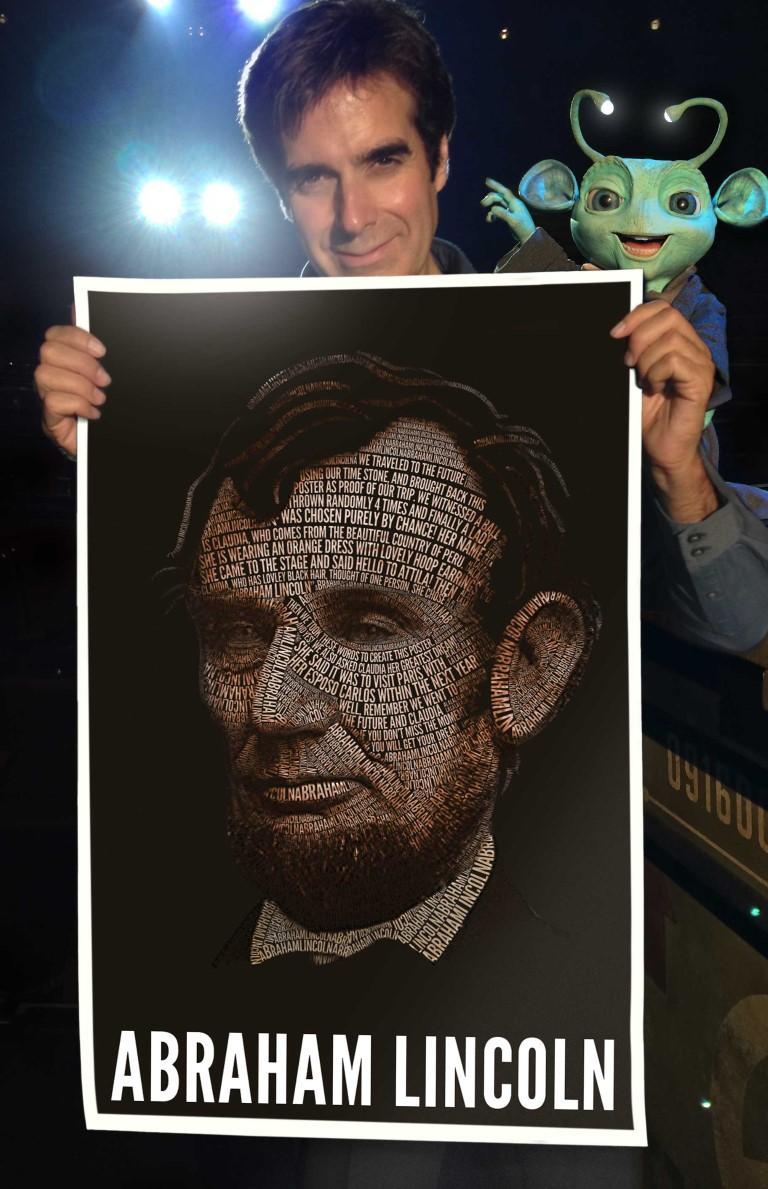 David Copperfield mit dem Ergebnis einer seiner Tricks
