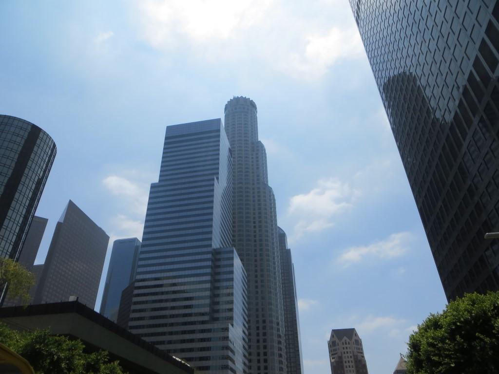 Das Finanzzentrum von Los Angeles ist schon von Weitem zu sehen...